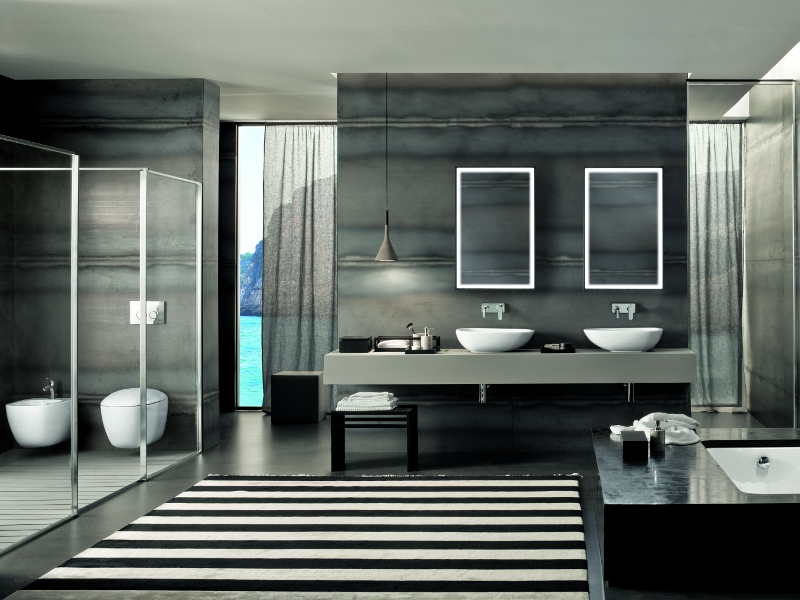 La Nuova Collezione Citterio By Pozzi Ginori 29605 65 further 46049 Bathroom Mirrors With Lights Powder Room Contemporary With Accent Wall Beige Countertop additionally Bathroom Storage Ideas furthermore Contemporary Ensuite Bathroom Sydney Minosa besides Transitional 24 Inch Gray Bathroom Vanity Marble Carrera Top. on bathroom double vanity