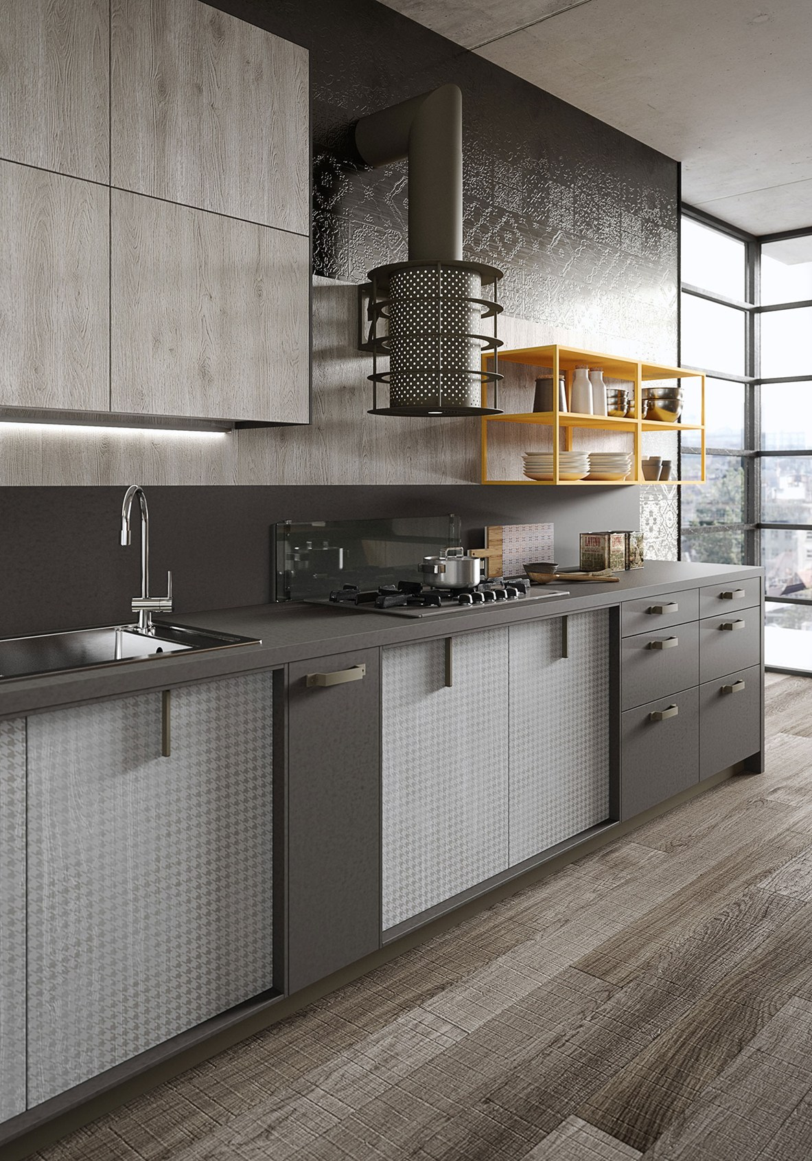 legno vissuto, metallo e vetro per la cucina loft - Cucine Loft