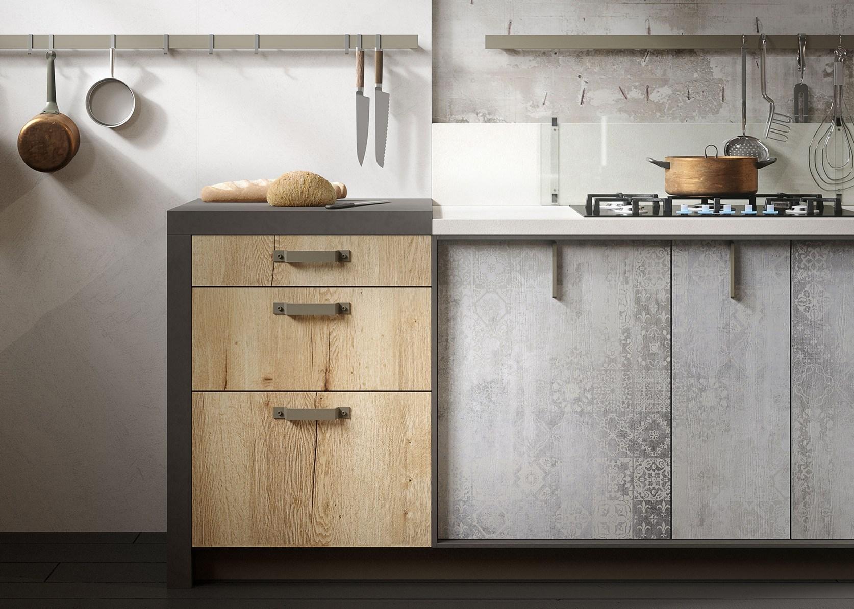 Legno vissuto metallo e vetro per la cucina loft - Ante cucina legno ...