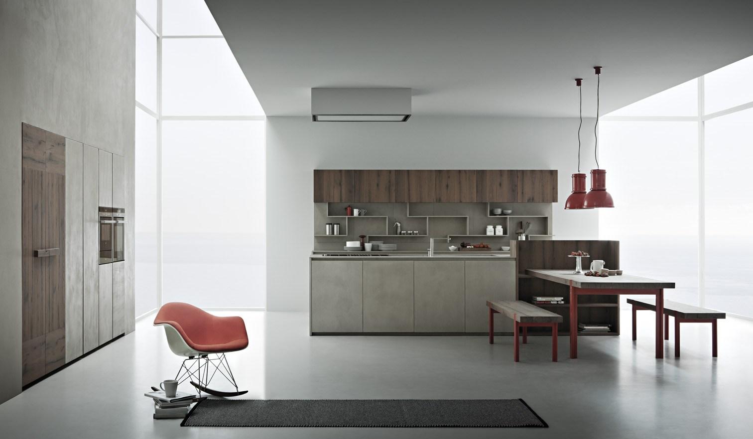 Resina di cemento e rovere tavolato - Parete cucina resina ...