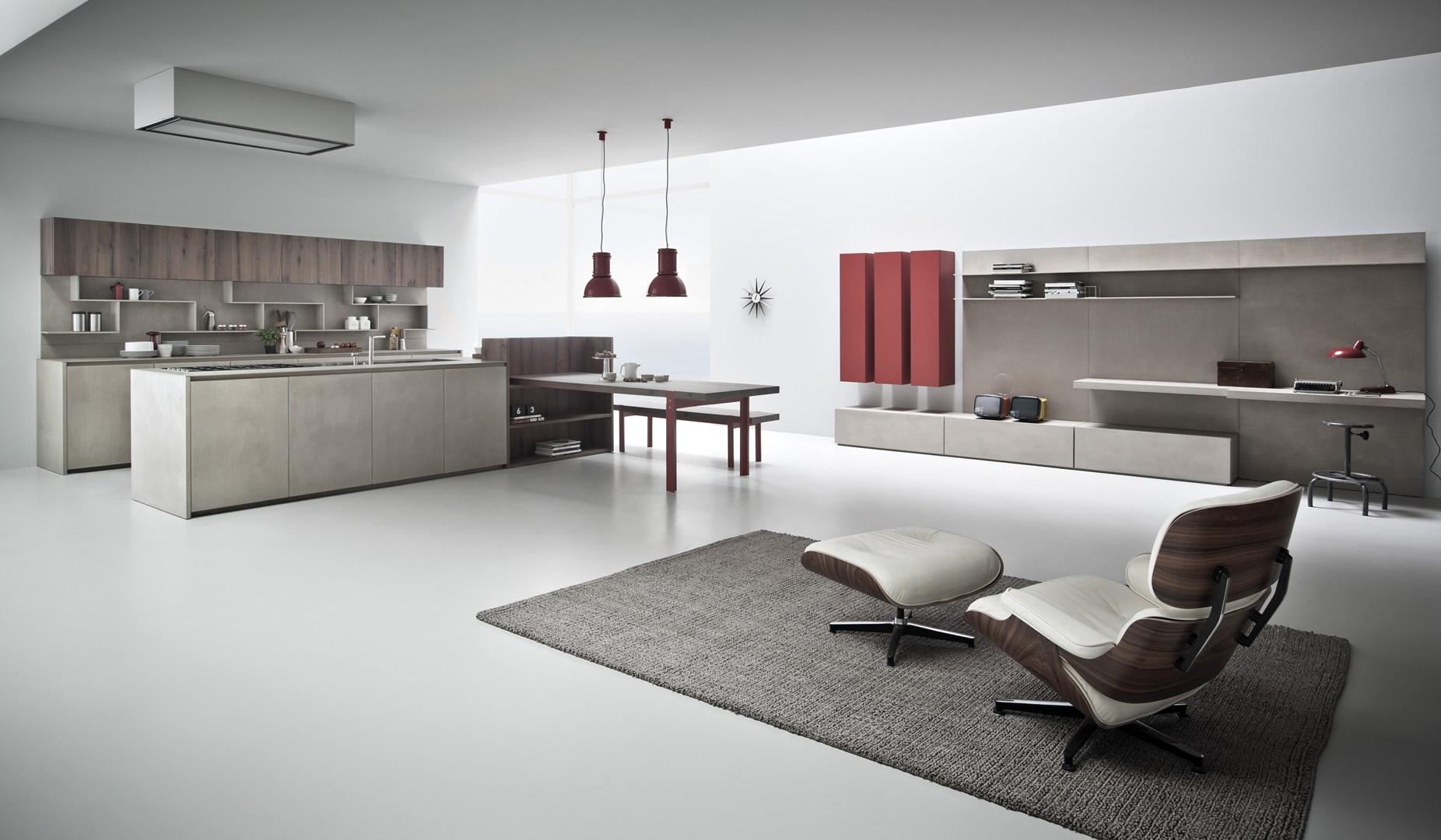 Resina di cemento e rovere tavolato - Rivestimento parete cucina ...