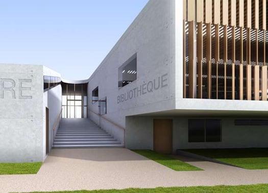 Legno vetro e cemento bianco per l 39 universit di amiens for Interni parigini