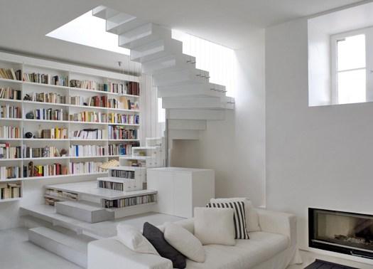 Abstraction active un loft vestito di bianco a parigi for Progetti di loft di stoccaggio garage