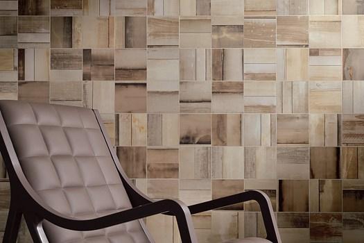 Cemento pietra metallo e legno di recupero - Rivestimenti in legno per interni ...