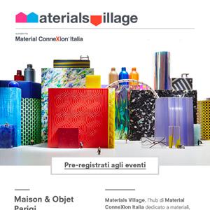 Materials Village a Maison Objet: Parigi 8-12 settembre 2017