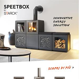 Stufe a legna con moduli componibili: Speetbox by Starck