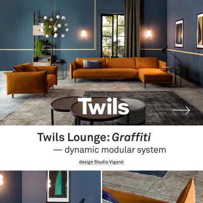 Sistema componibile Twils Lounge Graffiti, design Studio Viganò