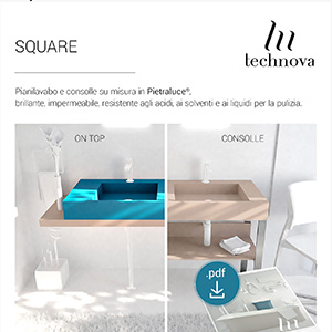 Pianilavabo e consolle in Pietraluce SQUARE by Technova