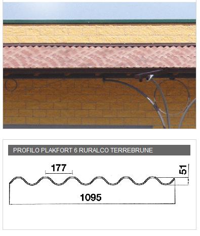 Lastra in PVA cemento per coperture - PLAKFORT 6 Ruralco terrebrune