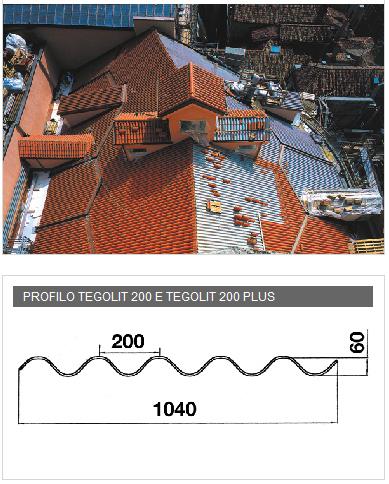 Lastre profilate in PVA cemento  - Tegolit 200 e Tegolit plus 200