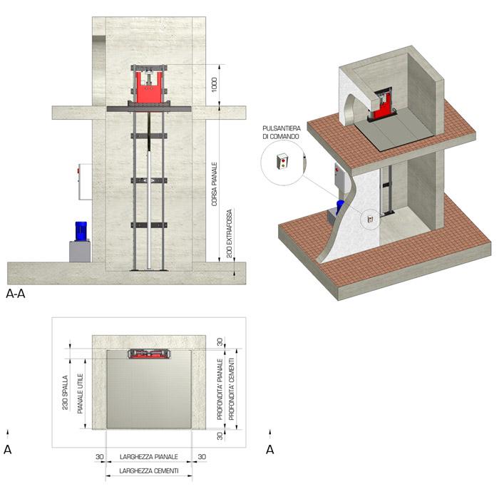Montacarichi monocolonna elettroidraulico per merci - UP 6-10-15-20 - UPDINAMIC