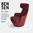BENSEN - High wingback swivel lounge chair My Turn by Bensen